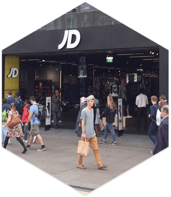 A busy JD Sports store front